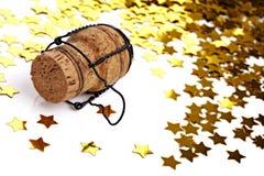 Cortiça do Confetti e do champanhe Imagem de Stock Royalty Free