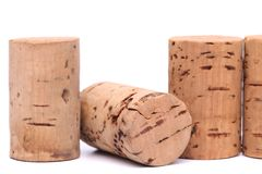 Cortiça do vinho ajustadas isoladas no branco Fotos de Stock Royalty Free