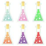 A cortiça selou os frascos do laboratório ajustados Fotos de Stock