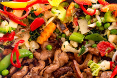 Corti del wok con carne fotografia stock