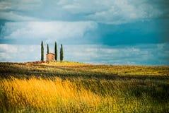 Cortijo aislado entre cuatro cipreses en una colina en Toscana mientras que está viniendo una tormenta foto de archivo