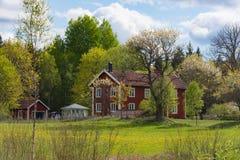 Cortijos de madera viejos en Suecia Fotografía de archivo libre de regalías