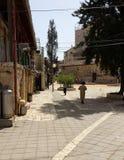 Cortile con gli ebrei ultra ortodossi Immagine Stock Libera da Diritti