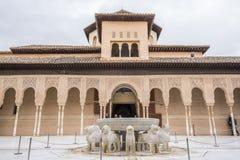Cortile dei leoni, palazzo di Nasrid Fotografia Stock