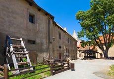 Cortile del castello di Krivoklat nella Repubblica ceca Immagine Stock