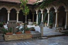Cortile del monastero di Stavropoleos Fotografie Stock