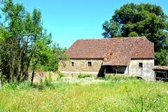 Cortile della chiesa medievale fortificata del sassone nel villaggio Rothbach, la Transilvania, Romania Fotografie Stock Libere da Diritti