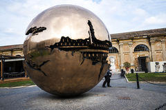 Cortile della Pigna. Sphere within a sphere by Pomodoro 1990 in the Gardens of the Vatican Museums in Rome Italy. Rome Italy, the Eternal city, which has been a Royalty Free Stock Images
