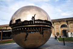 Cortile della Pigna. Sphere within a sphere by Pomodoro 1990 in the Gardens of the Vatican Museums in Rome Italy. Rome Italy, the Eternal city, which has been a Royalty Free Stock Photo