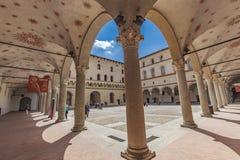 Cortile della Rocchetta in Sforzesco castle in Milan Stock Photos