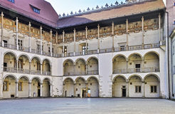 Cortile di rinascita del castello di Wawel a Cracovia Fotografia Stock Libera da Diritti