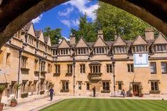 Cortile di vecchio quadrilatero dell'istituto universitario di Brasenose dell'università di Oxford Fotografie Stock Libere da Diritti