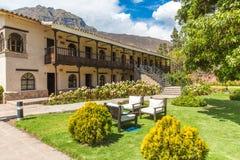 Cortile e giardino d'invito all'hotel dell'alta società, Cusco, Perù, Sudamerica Fotografia Stock Libera da Diritti