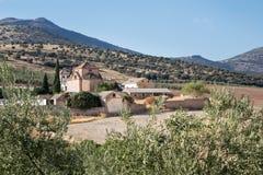 Cortile murato tradizionale intorno all'azienda agricola o all'hotel in Spagna Fotografia Stock Libera da Diritti
