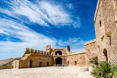 Cortile principale della parte cristiana di Almeria Castle & del x28; Alzacaba di Almeria& x29; Fotografie Stock