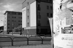 Cortile residenziale di Danzica Sguardo artistico in bianco e nero Immagini Stock Libere da Diritti