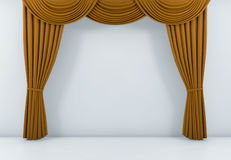 A cortina alaranjada ou drapeja o fundo 3d rendem ilustração do vetor