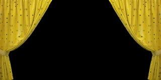 Cortina amarela de veludo aberta aos lados, em um fundo preto ilustração 3D imagem de stock