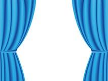 Cortina azul aberta no fundo branco Vetor Fotografia de Stock Royalty Free