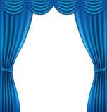 Cortina azul luxuosa no fundo branco Fotografia de Stock Royalty Free