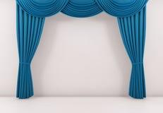 A cortina azul ou drapeja o fundo 3d rendem ilustração royalty free