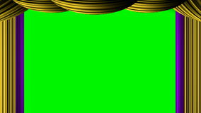Cortina branca ciana zumbindo animado na chave verde do croma da tela para o drama do entretenimento da mostra da fase da crítica
