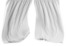 Cortina branca vazia no fundo branco, 3d Imagens de Stock Royalty Free