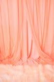 Cortina cor-de-rosa e tapete branco da pele Fotografia de Stock