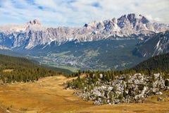 Cortina d Ampezzo and Gruppo del Cristallo Royalty Free Stock Photography