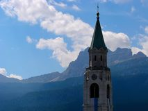 Cortina d`Ampezzo has a thousand year old history and a long tradition as a tourist destination: Dolomites mountains. Cortina d`Ampezzo has a thousand year old stock image