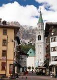 Cortina d Ampezzo, hotels and church, Gruppo Tofana Stock Image