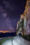 Cortina Ampezzo tunnel. Sky trails with tunnel  in the italian dolomite Royalty Free Stock Photo