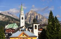Cortina D Ampezzo resort Stock Photos