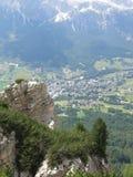 Cortina d'Ampezzo von oben Stockfotografie