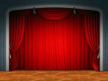 Cortina de la etapa del teatro Fotografía de archivo