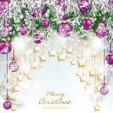 Cortina de oro de las estrellas de las chucherías púrpuras de las ramitas de la Feliz Navidad stock de ilustración