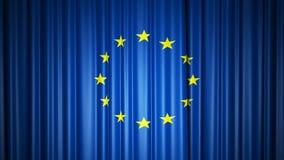 Cortina de seda de la bandera de la UE en etapa ilustraci?n 3D libre illustration