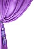 Cortina de seda púrpura aislada en blanco imagen de archivo