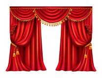 Cortina de seda vermelha com vetor realístico do lambrequin ilustração do vetor