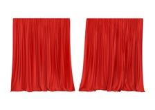 Cortina de seda vermelha isolada no fundo branco 3d rendem ilustração stock