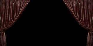 Cortina do chocolate aberta aos lados, em um fundo preto ilustração 3D fotografia de stock