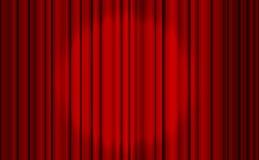 Cortina fechado vermelha com pontos claros em um teatro ilustração stock
