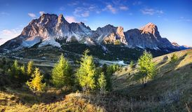 Cortina mountain ridge. Region Trentino Alto Adige, South Tyrol, Veneto, Italy. Dolomite Alps, famous travel destination, Europe