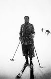 1939, Cortina-Pocol Italy. Skier covered by snow in a storm Royalty Free Stock Image