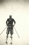 1939, Cortina-Pocol Italy. Skier covered by snow in a storm Royalty Free Stock Images