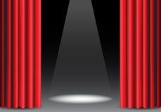 Cortina roja abierta en negro con vector de la demostración de la etapa de diseño de la luz del punto Imagen de archivo