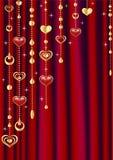 Cortina roja con la decoración. Fotos de archivo libres de regalías