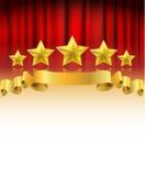 Cortina roja con las estrellas de oro stock de ilustración
