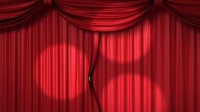 Cortina roja de apertura con los proyectores ilustración del vector