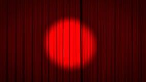 Cortina roja de la etapa con el proyector Foto de archivo libre de regalías